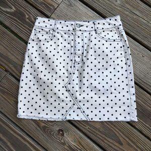 5/$25 GB White with Black Polka Dot Denim Skirt Jr